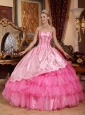 Brand New Rose Pink Quinceanera Dress Sweetheart Taffeta and Oragnza Embroidery Ball Gown