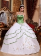 Cheap Spring Green and White Quinceanera Dress  Strapless Organza Embroidery Ball Gown