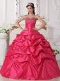 Discount Hot Pink Quinceanera Dress Sweetheart Taffeta Beading Ball Gown