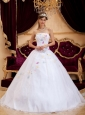Exquisite White Sweet 16 Dress Strapless Organza Appliques A-Line / Princess