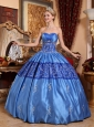 Gorgeous Blue Quinceanera Dress Sweetheart Taffeta Embroidery Ball Gown