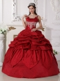 Gorgeous Wine Red Quinceanera Dress Scoop Taffeta Beading Ball Gown