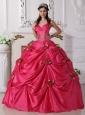 Luxurious Hot Pink Quinceanera Dress Spaghetti Straps Taffeta Beading Ball Gown