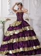 Sweet Purple and Gold Quinceanera Dress Strapless Floor-length Taffeta Embroidery Ball Gown
