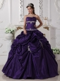 The Super Hot Dark Purple Quinceanera Dress Strapless Taffeta Appliques Ball Gown