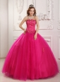 Elegant Hot Pink Quinceanera Dress Strapless Tulle Beading Ball Gown