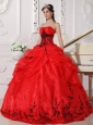 Beautiful Red and Black Quinceanera Dress Strapless Floor-length Organza Appliques Ball Gown