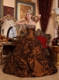 Fashionable Brown Quinceanera Dress Strapless Taffeta Beading A-line
