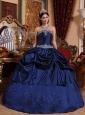 Popular Blue Quinceanera Dress Strapless Taffeta Beading Ball Gown