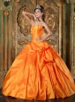 Sweet Orange Quinceanera Dress Sweetheart Taffeta Appliques Ball Gown
