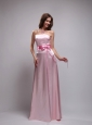 Baby Pink Empire Strapless Floor-length Taffeta Beading and Bowknot Bridesmaid Dress