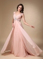 Baby Pink Empire Straps Court Train Chiffon Beading Prom / Evening Dress