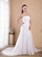 Beautiful A-Line / Princess Strapless Court Train Organza and Satin Beading Wedding Dress