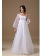 Beautiful A-line Scoop Organza Lace Maternity Wedding Dress
