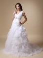 Beautiful A-line V-neck Court Train Taffeta and Organza Beading and Ruffles Wedding Dress