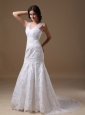Beautiful Mermaid Sweetheart Court Train Lace Wedding Dress