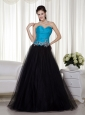 Blue and Black A-line Sweetheart Floor-length Taffeta and Tulle Appliques Prom Dress