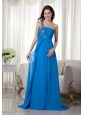 Blue Empire One Shoulder Brush Train Chiffon Appliques Prom Dress