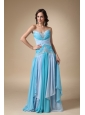 Blue Empire Sweetheart Brush Train Chiffon Appliques with Beading Prom Dress