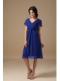 Blue Empire V-neck Knee-length Chiffon Ruch Bridesmaid Dress