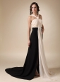 Champagne and Black Empire V-neck Brush Train Chiffon Ruch Prom / Evening Dress