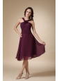 Dark Purple A-line V-neck Knee-length Chiffon Hand Made Flower Bridesmaid Dress
