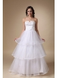 Elegant A-line Strapless Floor-length Satin and Organza Layers Wedding Dress
