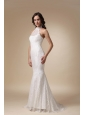 Fashionable Mermaid High-neck Brush Train Taffeta and Lace Wedding Dress