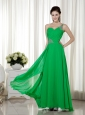 Green Empire One Shoulder Ankle-length Chiffon Beading Prom Dress