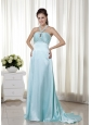 Light Blue Empire Halter Brush Train Elastic Woven Satin Beading Prom Dress