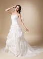 Modest A-line Strapless Chapel Train Taffeta Appliques and Pick-ups Wedding Dress