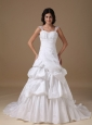 Modest A-line Straps Court Train Taffeta Appliques Wedding Dress