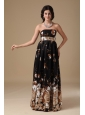 Multi-color Evening Dress Empire Strapless Floor-length Printing