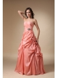 Rust Red Strapless Taffeta Pick-ups and Beading  Prom Dress