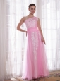 Pink Column / Sheath One Shoulder Floor-length Tulle and Taffeta Embroidery and Rhinestones Prom / Evening Dress