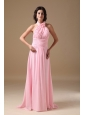 Rose Pink Empire Halter Brush Train Chiffon Ruch Bridesmaid Dress