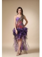 Purple Column One Shoulder High-low Cocktail Dress with Appliques
