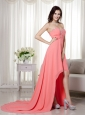 Watermelon Empire Sweetheart High-low Chiffon Beading and Ruch Prom / Celebrity Dress