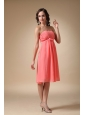 Watermelon Red Empire Strapless Knee-length Chiffon Ruch Bridesmaid Dress