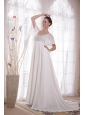 White A-Line / Princess V-neck Court Train Chiffon Beading Mother Of The Bride Dress