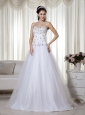 White A-line Sweetheart Floor-length Taffeta and Tulle Beading Prom Dress