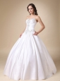 White Ball Gown Sweetheart Beading Taffeta Wedding Dress