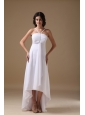 White Empire Halter High-low Chiffon Beading Bridesmaid Dress
