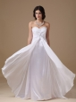 White Empire Sweetheart Floor-length Chiffon and Taffeta Lace Wedding Dress