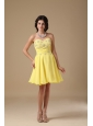 Yellow Cocktail Dress Sweetheart Mini-length Chiffon Beading