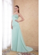 Apple Green Column / Sheath Sweetheart Brush Train Chifffon Beading and Appliques Prom / Evening Dress
