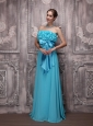 Aqua Blue Empire Strapless Brush Train Chiffon Bowknot Prom / Evening Dress