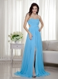 Aqua Blue Empire Sweetheart Brush Train Chiffon Beading Prom Dress