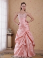 Baby Pink Column Sweetheart Floor-length Taffeta Beading and Ruch Prom / Celebrity Dress