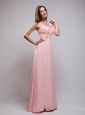 Baby Pink Empire One Shoulder Brush Train Chiffon Beading and Ruch Prom Dress